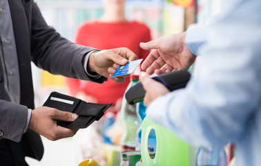 Man paying with his credit card