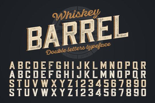 Decorative vector vintage typeface, double letters. Color swatches