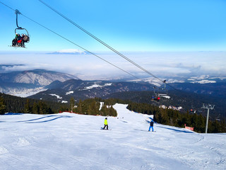 Panorama of winter mountains, ski slopes in bulgarian alpine ski resort Borovets
