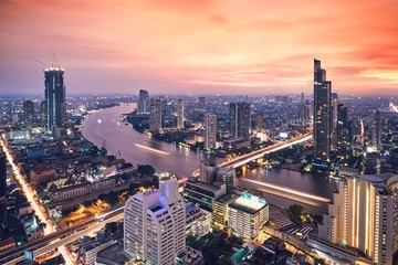 Bangkok during golden sunset