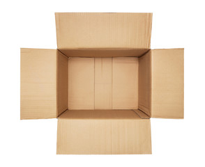 High angle view of an empty open cardboard box isolated on white background with copy space