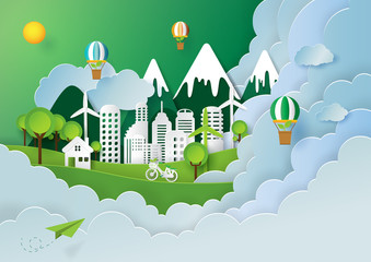 Paper art style of nature landscape and green eco city of renewable energy with environment conservation creative concept idea.Vector illustration.