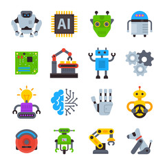 Robot icons vector set logo robotic machine technology robocop cartoon character AI artificial Intelligence robotechnic illustration isolated on white background.