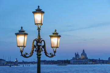 Classical street light in the lagoon of Venice, Italy