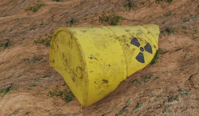 Radioactive barrel of nuclear waste. Ecology and environmental pollution concept.  3D rendered illustration.
