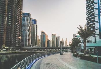 Dubai. The waterfront of Dubai Marina in the early morning. Toning instagram.