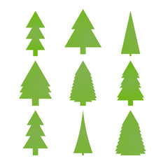 New year tree icons set. Green fir silhouettes