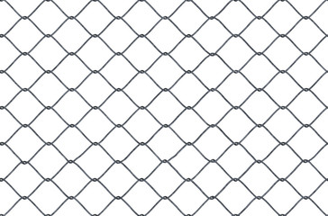 Seamless looping texture of metallic chain link fence on white background.