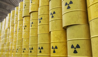 Dumping of radioactive waste barrels. 3D rendered illustration.