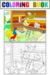 Chicken coop. Interior and life of birds in the chicken coop coloring for children cartoon vector illustration