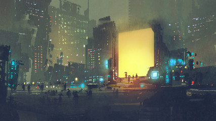 night scenery of futuristic city with many people in teleport station, digital art style, illustration painting