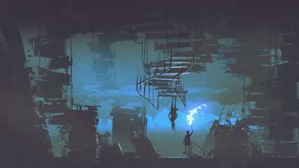 a child with a flaming torch standing in weird city with upside down buildings, digital art style, illustration painting