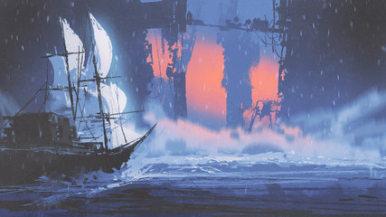 sailing ship on wave of ocean into abandoned city, digital art style, illustration painting