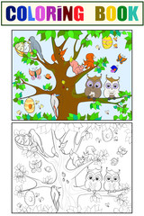 Animals and birds living on the tree coloring for children cartoon vector illustration