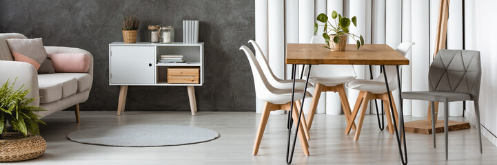 Open apartment design with table