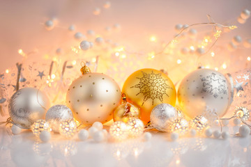 Christmas decorative balls and Christmas lights. Festive Christmas background.