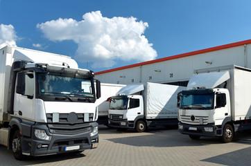 LKW´s am Depot einer Spedition zum transportieren von Waren im Logistikzentrum // Trucks at the depot of a forwarding agency for transporting goods in the logistics centre