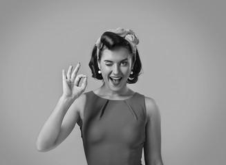 Beautiful woman in retro style .