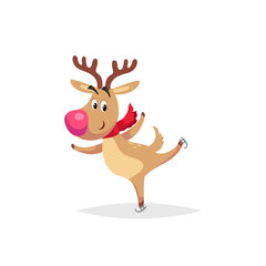 Cartoon cute reindeer with big red nose and scarf skates. Christmas and winter symbold. Great for greeting cards and invitations. Vector illustration.