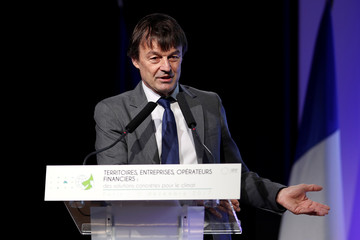French Minister for the Ecological and Inclusive Transition Nicolas Hulot delivers a speech during the French Business Climate Pledge event at the MEDEF headquarters in Paris