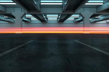 Parkhaus Hintergrund mit Lichtspur