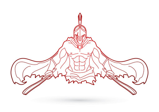 Angry Spartan warrior with Swords outline graphic vector.