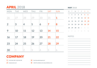 April 2018. Calendar planner design template. Week starts on Monday. Stationery design