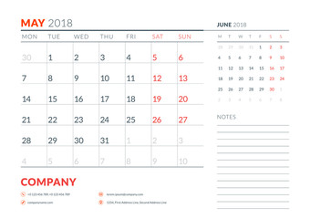 May 2018. Calendar planner design template. Week starts on Monday. Stationery design