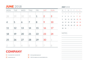 June 2018. Calendar planner design template. Week starts on Monday. Stationery design