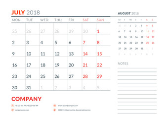 July 2018. Calendar planner design template. Week starts on Monday. Stationery design