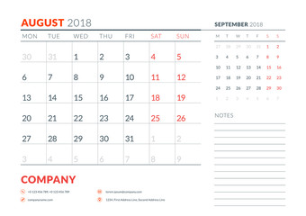 August 2018. Calendar planner design template. Week starts on Monday. Stationery design