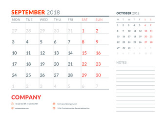 September 2018. Calendar planner design template. Week starts on Monday. Stationery design