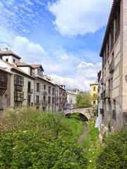 Houses along Darro river, Granada, Spain