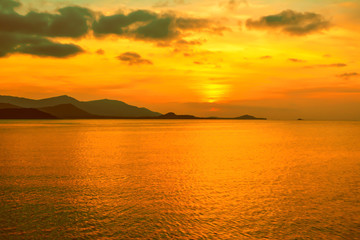 sunset with golden sky background at the sea , Koh Samui,Thailand