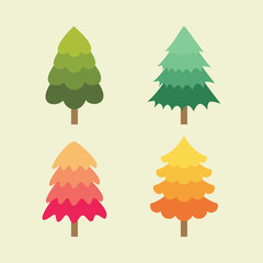 Set of tree illustration vector