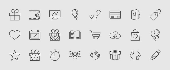 A set of gifts, vector line icons. Contains symbols gift cards, ribbons and more. Editable Stroke. 32x32 pixel.
