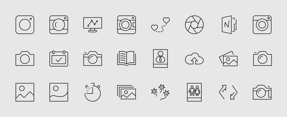 Set of cameras and photo, vector line icons. Contains symbols of portraits and family photos and much more. Editable move. 32x32 pixels. Wall mural