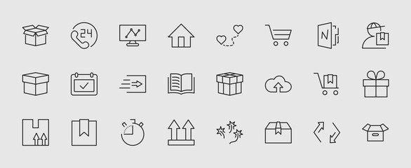 Set of shipping vector line icon. It contains symbols to box, home and more. Editable move. 32x32 pixels.