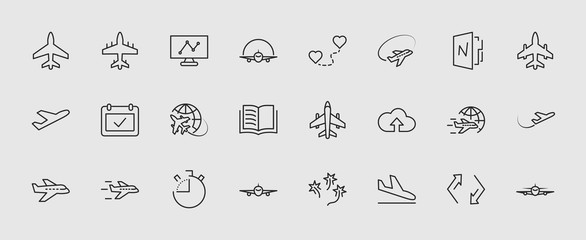 Set of plane vector line icon. It contains symbols to aircraft, globe and more. Editable move. 32x32 pixels. Wall mural