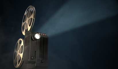 Vintage movie projector on dark background. 3D rendered illustration.