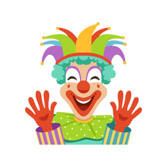 Funny circus clown raising his hands, avatar of cartoon friendly clown in colorful classic outfit vector Illustration
