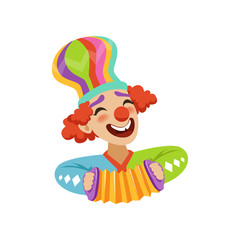Funny circus clown playing harmonic, avatar of cartoon friendly clown in classic outfit vector Illustration
