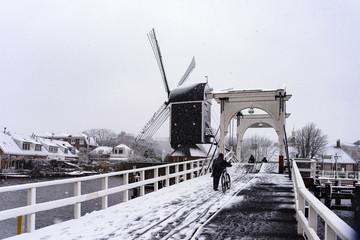 First snow this year in Leiden, Netherlands