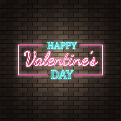 Neon happy Valentine's Day banner. Valentine lamp romance heart shape. Colored vector light glow poster. Nightclub bulb dark brick wall label card design. Holiday greeting. Love background.