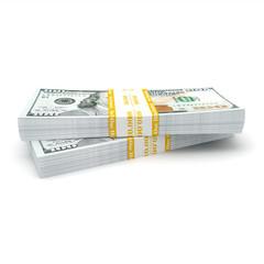 3d rendering pair of packs of US dollars