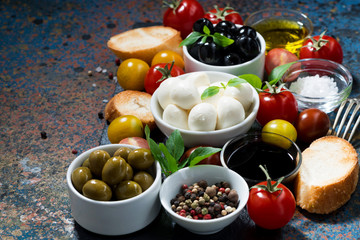 mozzarella, fresh ingredients for the salad and bread on dark background, horizontal