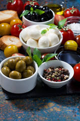 mozzarella, fresh ingredients for the salad and bread on dark background, vertical