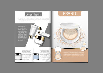 Cream and serum on geometric background with press powder and template in magazine display for advertisement