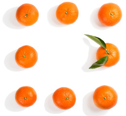 Wall Mural - Whole tangerines. Above view.