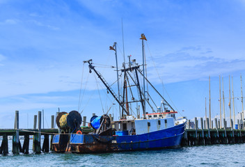 Blue and White Fishing Trawler